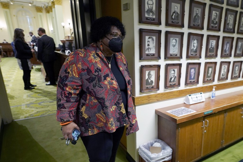 Democratic Assemblywoman Shirley Weber leaves the Assembly Chambers at the Capitol Sacramento, Calif., Thursday, Jan. 28, 2021. (ASSOCIATED PRESS)
